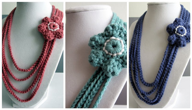 Crochet Stitches Jewelry : Crochet necklace with flowers Crochet Patterns and Tutorials