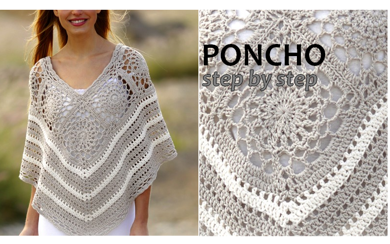Crochet poncho with squares and lace pattern Crochet Patterns and ...