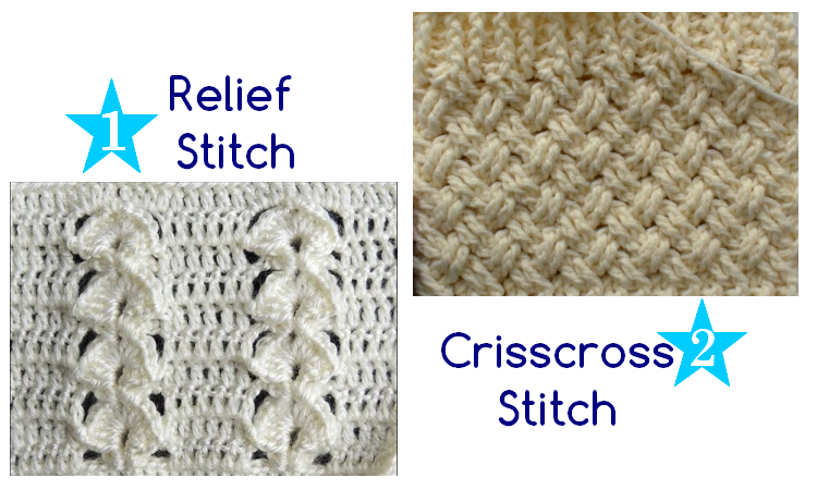 Crochet Stitches Tutorial : ... : Relief and Crisscross combined Crochet Patterns and Tutorials