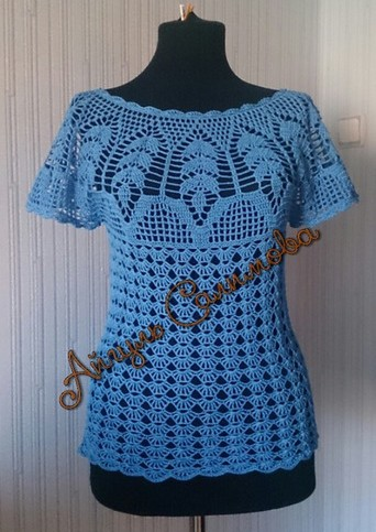 Tutorial how to make a DELICATE CROCHET BLOUSE (4)