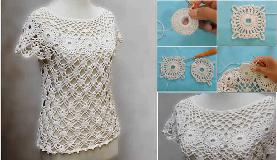 Tutorial Of A Beautiful Crochet Blouse Crochet Patterns And Tutorials